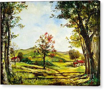 Canvas Print featuring the painting Autumn Road by Lee Piper