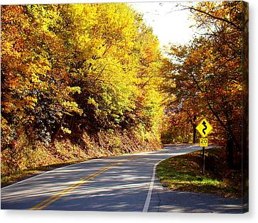 Smokey Mountain Drive Canvas Print - Autumn Road by Mary Koval