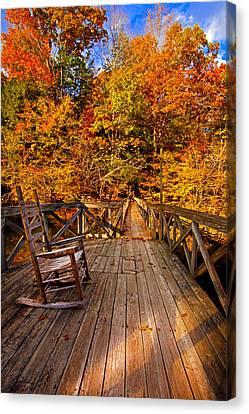 Autumn Rocking On Wooden Bridge Landscape Print Canvas Print by Jerry Cowart