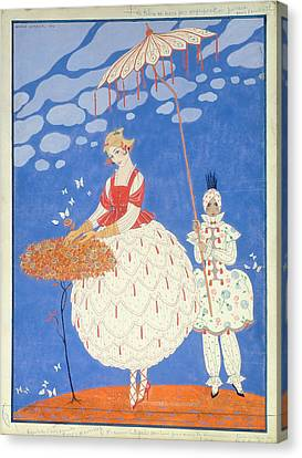 Autumn Roses  Canvas Print by Georges Barbier