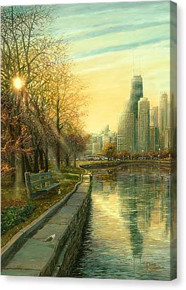 Hancock Building Canvas Print - Autumn Serenity II by Doug Kreuger