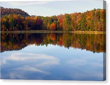 Autumn Shoreline Reflection Canvas Print by Gene Walls