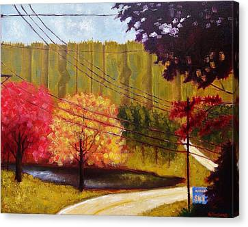 Canvas Print featuring the painting Autumn Slopes by Jason Williamson