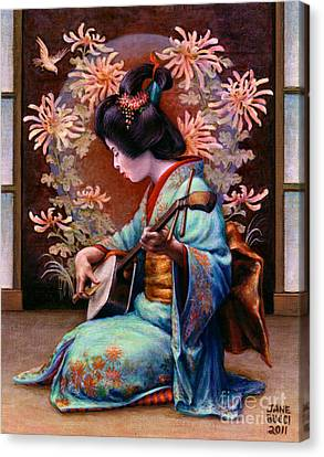 Geisha Girl Canvas Print - Autumn Song by Jane Bucci