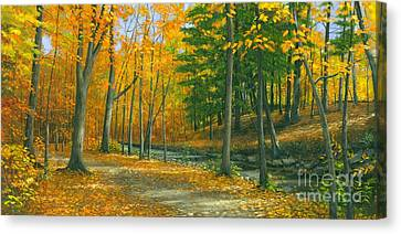 Canvas Print featuring the painting Sawmill Creek by Michael Swanson