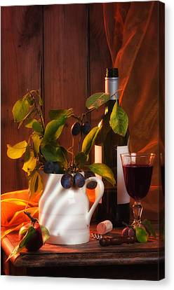 Glass Bottle Canvas Print - Autumn Still Life by Amanda Elwell