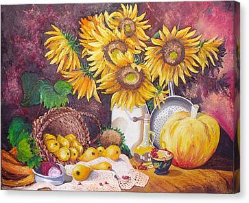 Autumn Still Life Canvas Print by Nina Mitkova