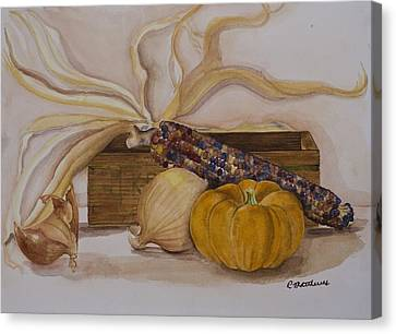 Autumn Still Life Canvas Print by Rebecca Matthews