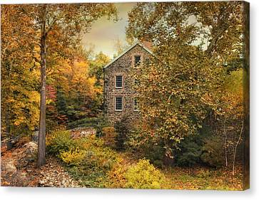 Autumn Stone Mill Canvas Print by Jessica Jenney