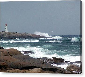 Autumn Storm At Peggy's Cove Canvas Print by Janet Ashworth