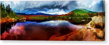 Painterly Canvas Print - Autumn Storm At Roaring Brook by ABeautifulSky Photography by Bill Caldwell