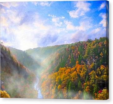 Rivers In The Fall Canvas Print - Autumn Sunrise In Tallulah Gorge by Mark E Tisdale