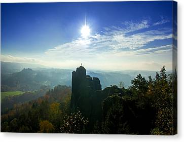 Autumn Sunrise In The Elbe Sandstone Mountains Canvas Print