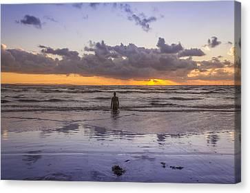 Autumn Sunset At Crosby Beach Canvas Print by Paul Madden