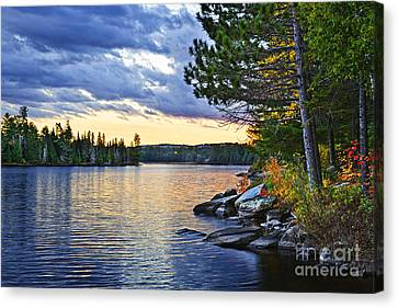 Autumn Sunset At Lake Canvas Print