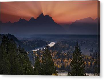 Autumn Sunset At The Snake River Overlook Canvas Print by Andrew Soundarajan