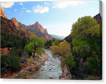 Autumn Sunset In Zion. Canvas Print by Johnny Adolphson