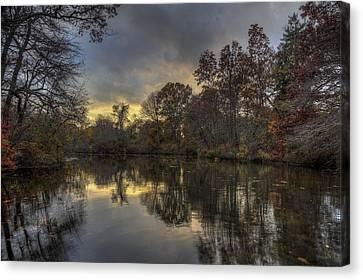 Autumn Sunset On West Brook Pond Canvas Print by Steve Gravano