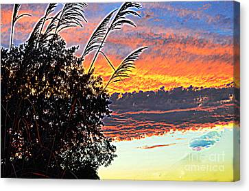 Autumn Sunset Canvas Print by Luther Fine Art