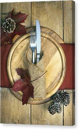 Autumn Table Setting Canvas Print by Amanda Elwell