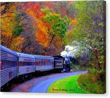 Canvas Print featuring the painting Autumn Train by Bruce Nutting
