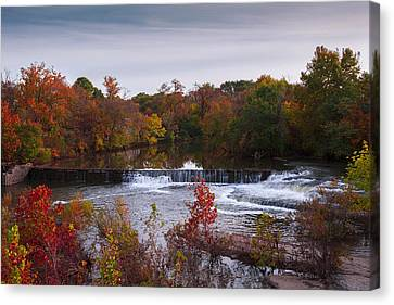 Canvas Print featuring the photograph Refreshing Waterfalls Autumn Trees On The Stones River Tennessee by Jerry Cowart