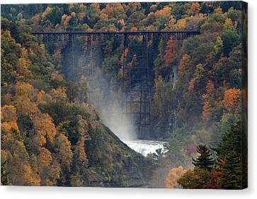 Autumn Trestle Canvas Print by Timothy McIntyre
