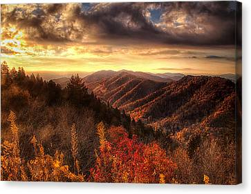 Autumn View In The Smokies Canvas Print by Andrew Soundarajan