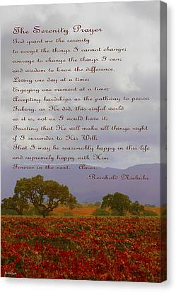 Autumn Vineyard The Serenity Prayer Canvas Print by Barbara Snyder
