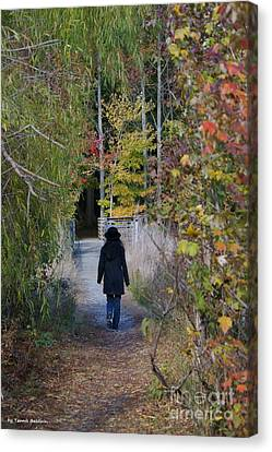 Canvas Print featuring the photograph Autumn Walk by Tannis  Baldwin