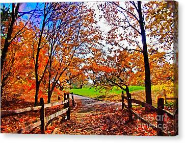 Autumn Walkway Canvas Print by Nishanth Gopinathan