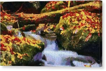 Autumn Waterfall Canvas Canvas Print