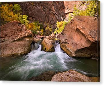 Autumn Waterfall In Zion Canvas Print