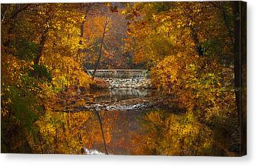 Autumn Waterfall Canvas Print by Jen Morrison