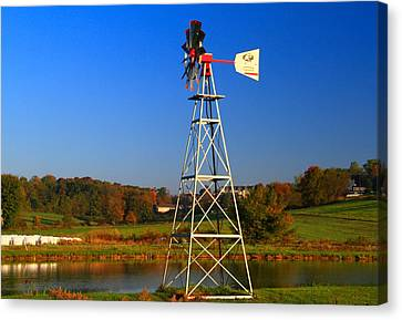 Autumn Windmill Side View Canvas Print by Dan Sproul