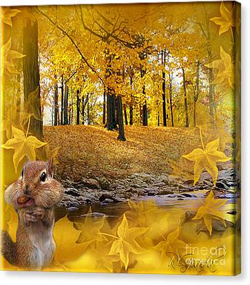 Canvas Print featuring the digital art Autumn With A Squirrel - Autumn Art By Giada Rossi by Giada Rossi