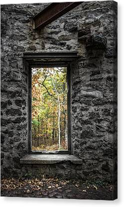 Autumn Within Cunningham Tower - Historical Ruins Canvas Print by Gary Heller