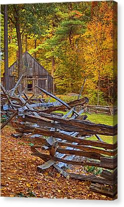 Autumn Wooden Fence Canvas Print