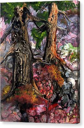 Canvas Print featuring the painting Autumn Woods by Sherry Shipley