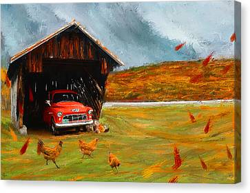 New England Autumn Canvas Print - Autumnal Restful View-farm Scene Paintings by Lourry Legarde
