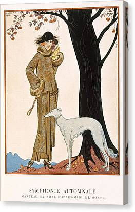 Autumnal Symphony Afternoon Coat And Dress By Worth Canvas Print by Georges Barbier