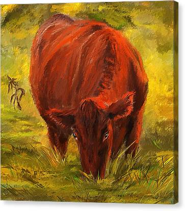 Abstract Art On Canvas Print - Autumn's Afternoon - Cow Painting by Lourry Legarde