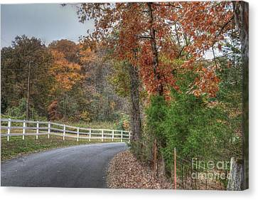 Hdr Landscape Canvas Print - Autumns Beauty Fenced In by Sherri Duncan