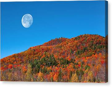 Canvas Print featuring the photograph Autumn's Big Moon  by Larry Landolfi