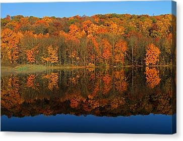 Autumns Colorful Reflection Canvas Print by Karol Livote