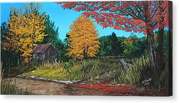 Autumns Rustic Path Canvas Print by Wendy Shoults