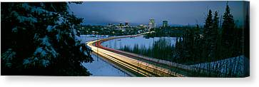 Autumobile Lights On Busy Street Canvas Print by Panoramic Images