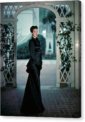 Ava Gardner Wearing A Long Satin Gown Canvas Print