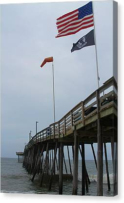 Nc Canvas Print - Avalon Pier And Flags by Cathy Lindsey
