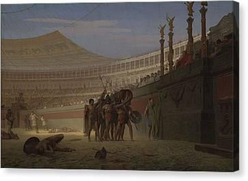 Ave Caesar Morituri Te Salutant , 1859 Canvas Print by Jean Leon Gerome